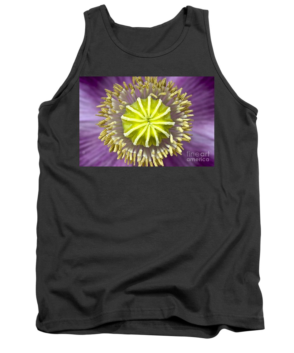Poppy Tank Top featuring the photograph Purple Poppy Blossom Into A Star by Heiko Koehrer-Wagner