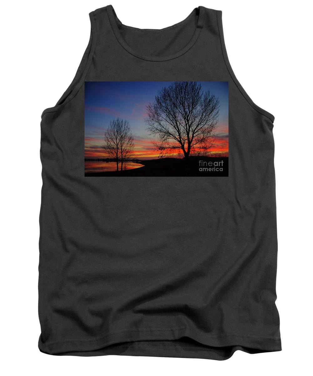Sunset Tank Top featuring the photograph Sunset At The Lake by Jim And Emily Bush
