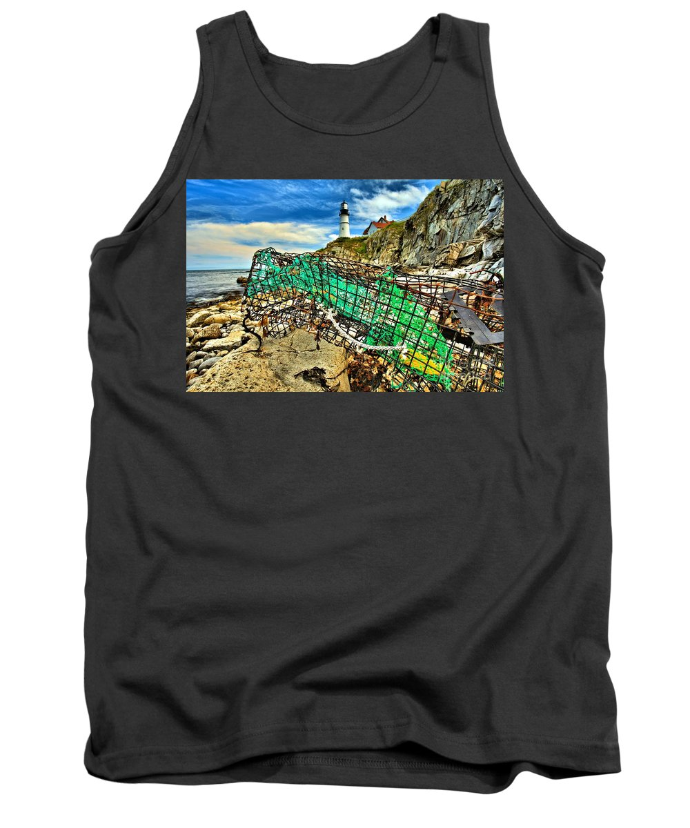 Portland Lighthouse Tank Top featuring the photograph Washed Up by Adam Jewell
