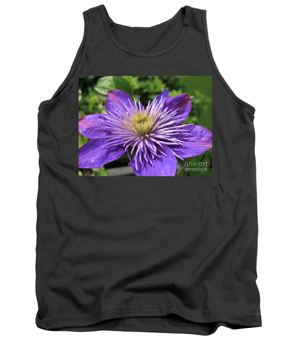 Double Clematis Tank Top featuring the photograph Double Clematis Named Crystal Fountain by J McCombie
