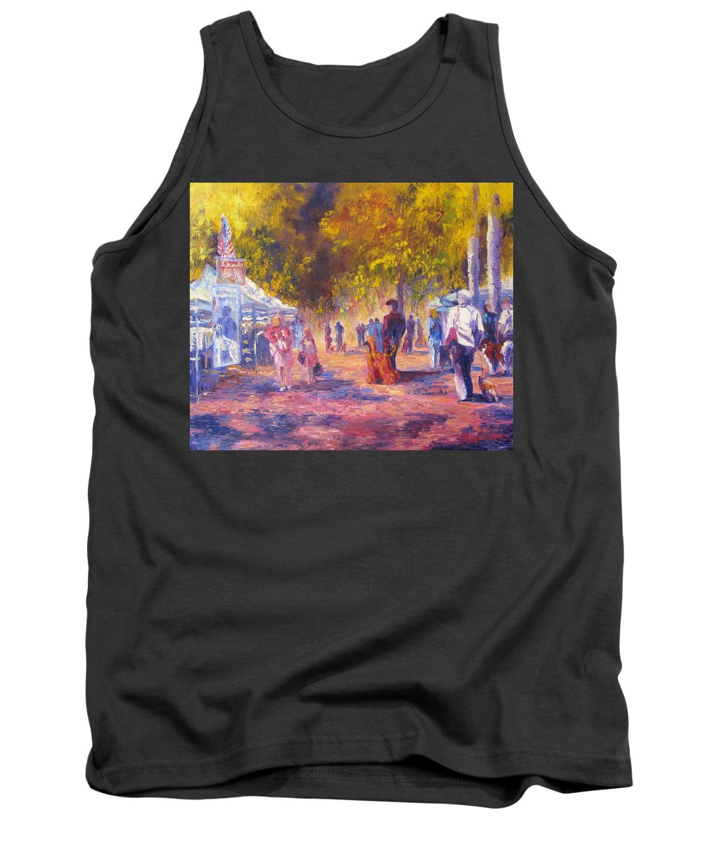 Dog Show Scene Tank Top featuring the painting Promenade by Terry Chacon