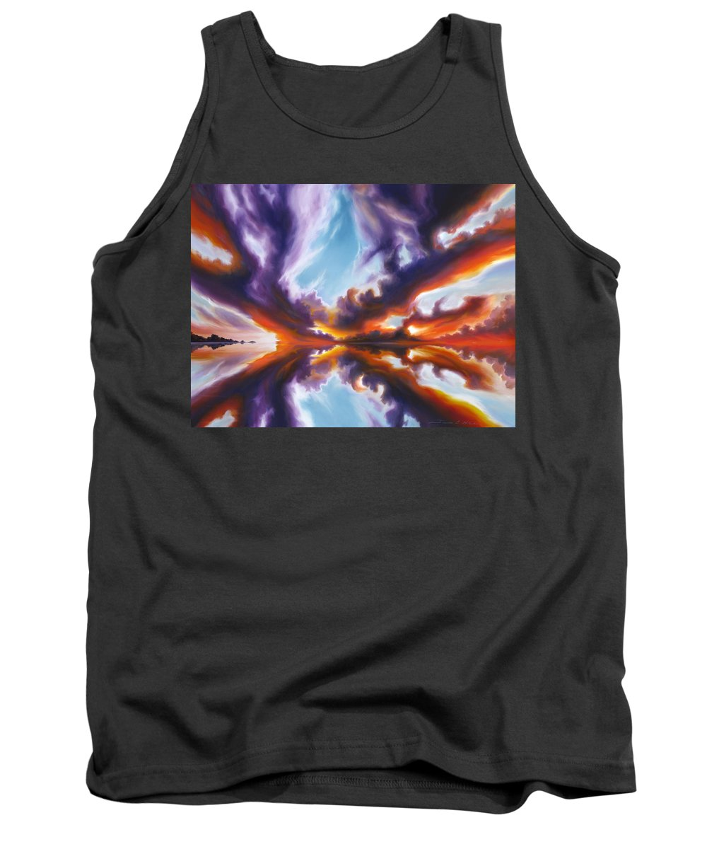 Bright Clouds; Sunsets; Reflections; Ocean; Water; Purple; Orange; Storms; Lightning; Contemporary; Abstract; Realism; James Christopher Hill; James Hill Studios; James C. Hill Tank Top featuring the painting Reflections of the Mind by James Christopher Hill