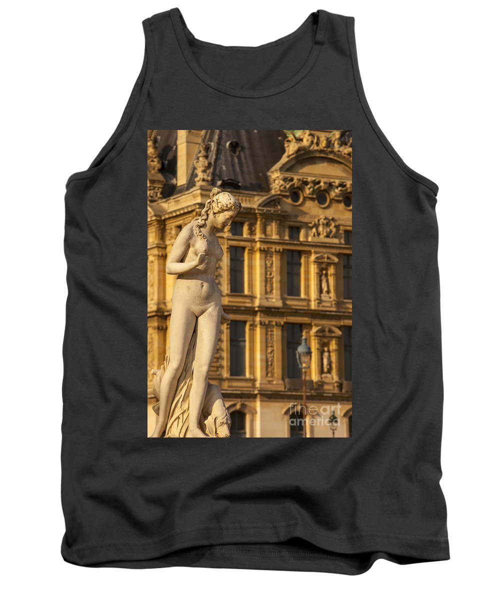 Architecture Tank Top featuring the photograph Statue Below Musee Du Louvre by Brian Jannsen