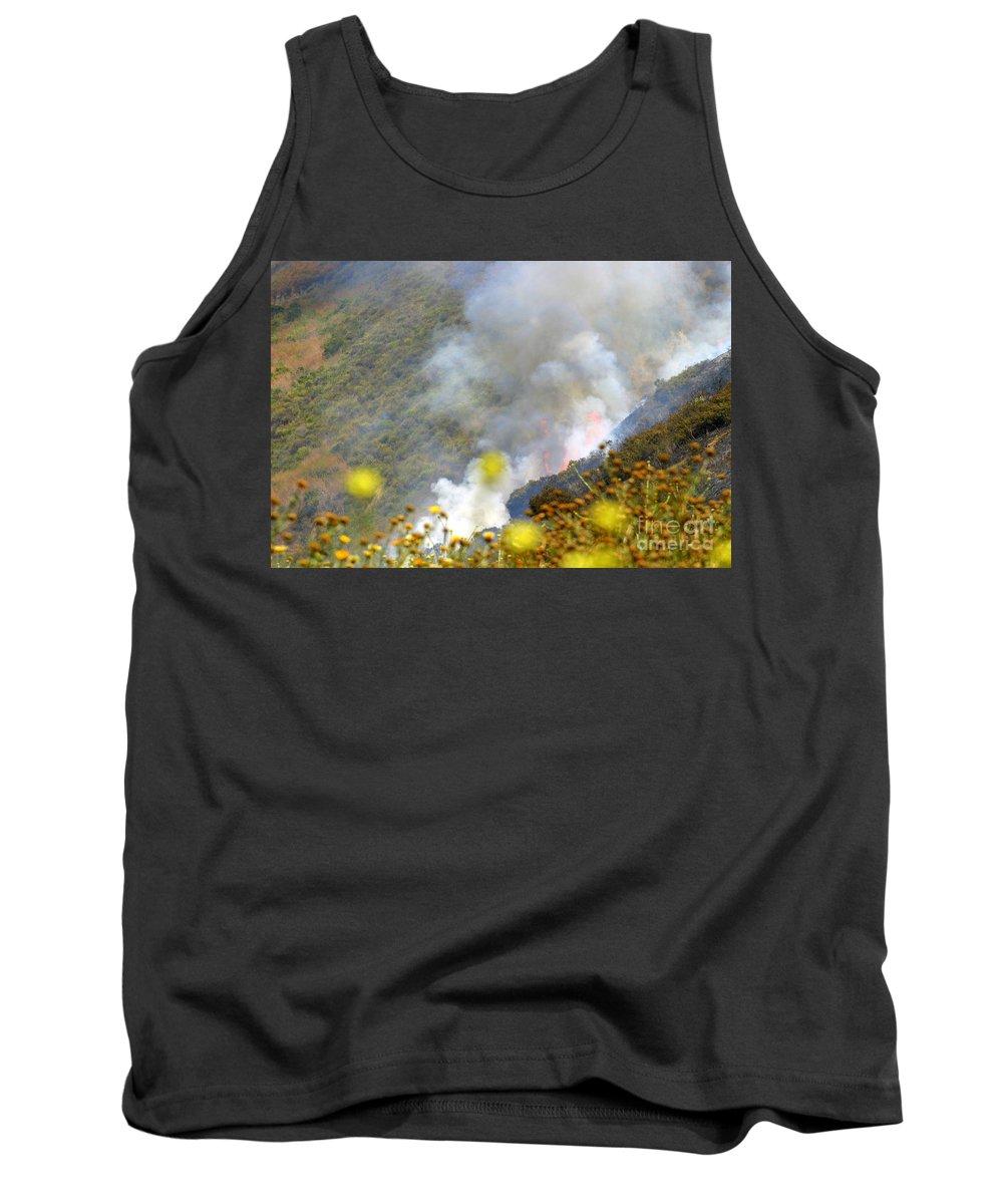 Ash Tank Top featuring the photograph Barnett Fire by Henrik Lehnerer