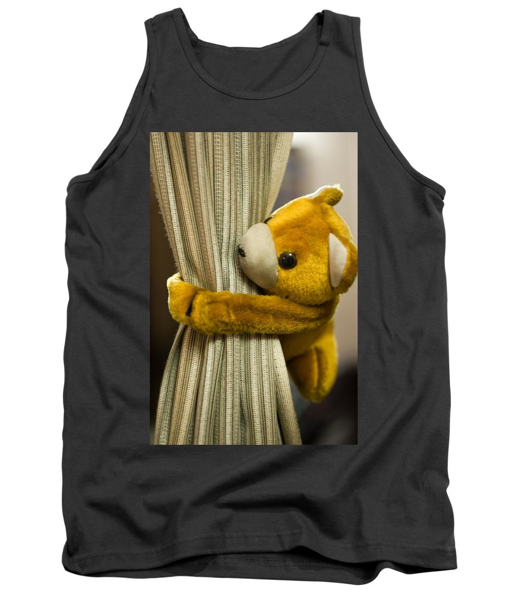 Cloth Tank Top featuring the photograph A Curtain With A Cute Stuffed Toy by Ashish Agarwal