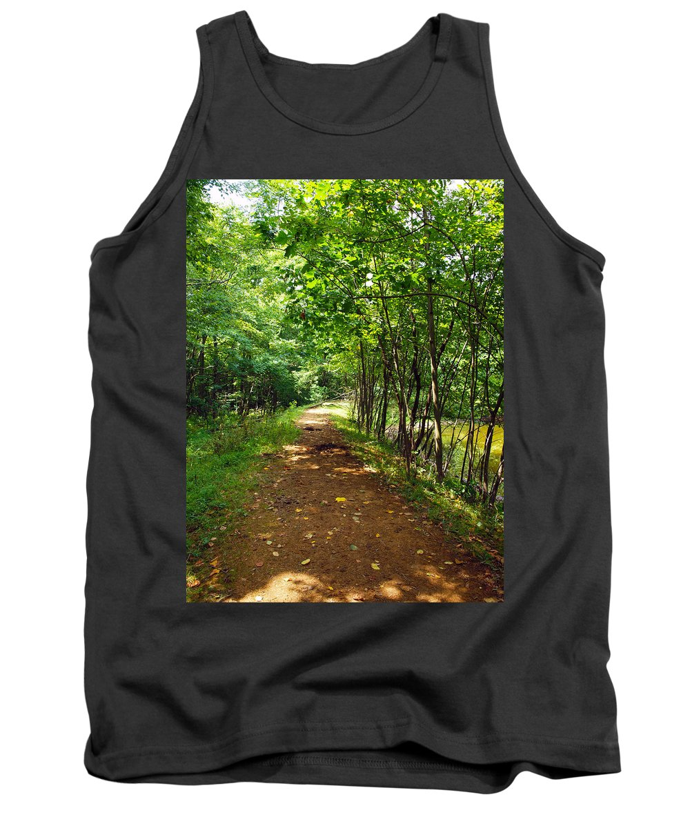 Farm Animals Tank Top featuring the photograph A Path Around The Pond by Robert Margetts