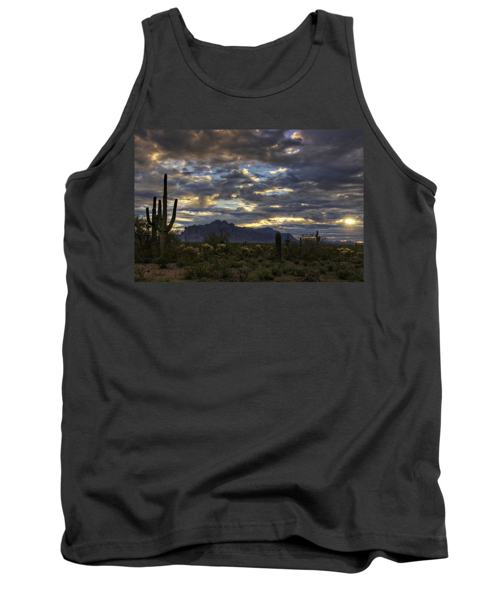 Sunrise Tank Top featuring the photograph A Winter Sunrise In The Desert by Saija Lehtonen