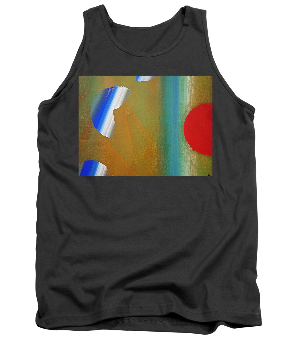 Red Tank Top featuring the painting Abstract Blue With Red Sun by Charles Stuart