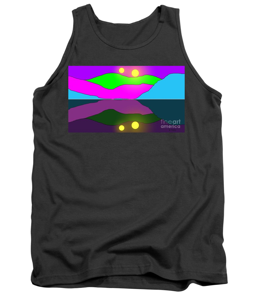 Alien Tank Top featuring the painting Alien Sunrise by George Pedro