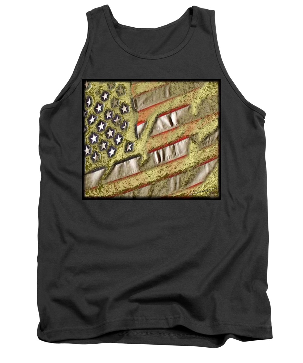 America Tank Top featuring the digital art American Streets Of Gold by Michael Hurwitz