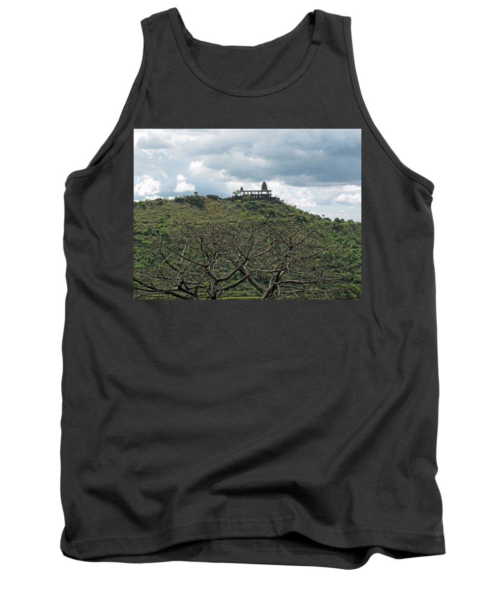 Jammu Tank Top featuring the photograph An Old Temple Building On Top Of A Hill With A Lot Of Clouds In The Sky by Ashish Agarwal