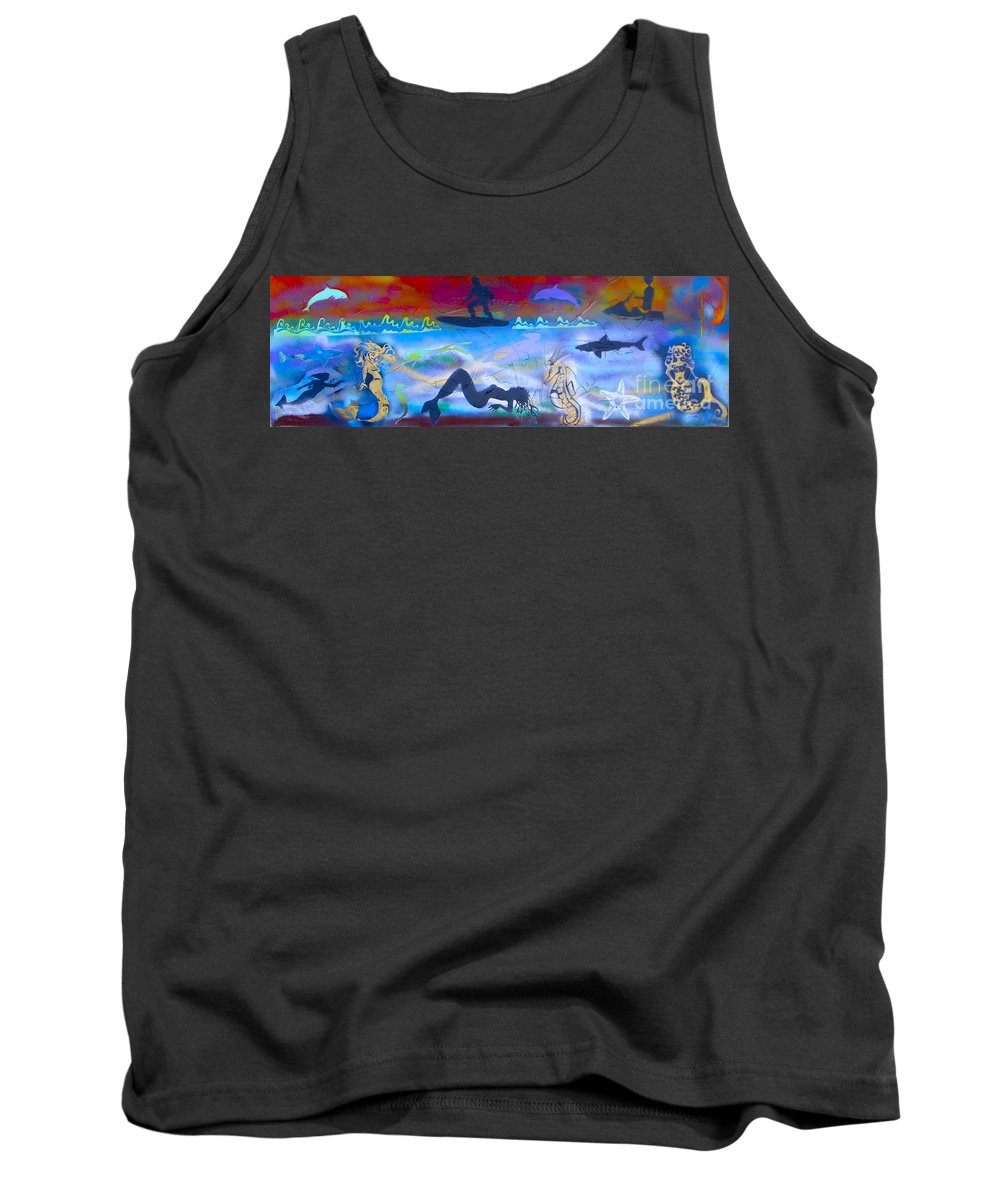 Mermaid Tank Top featuring the painting At Sea by Tony B Conscious