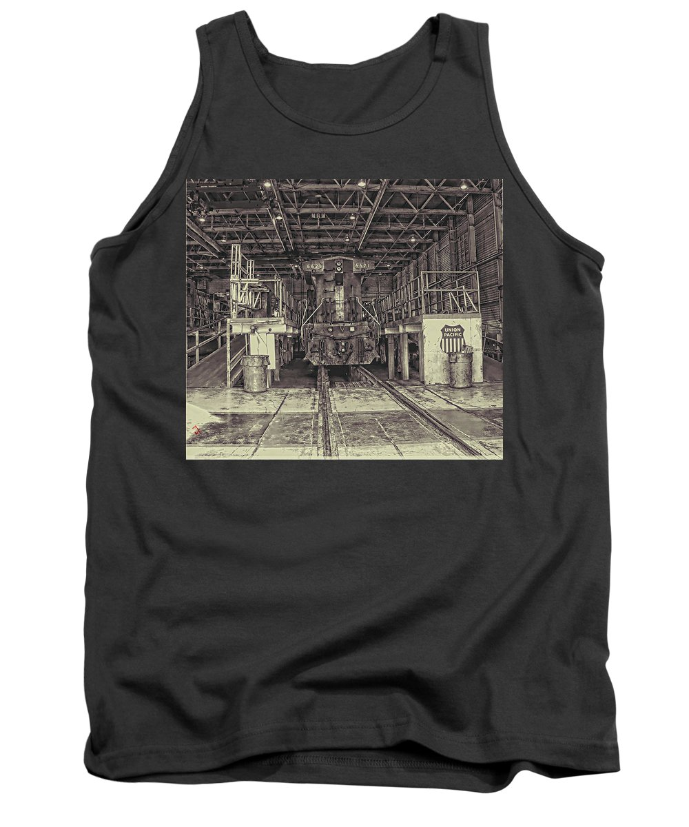 Trains Tank Top featuring the photograph At The Yard by Adam Vance