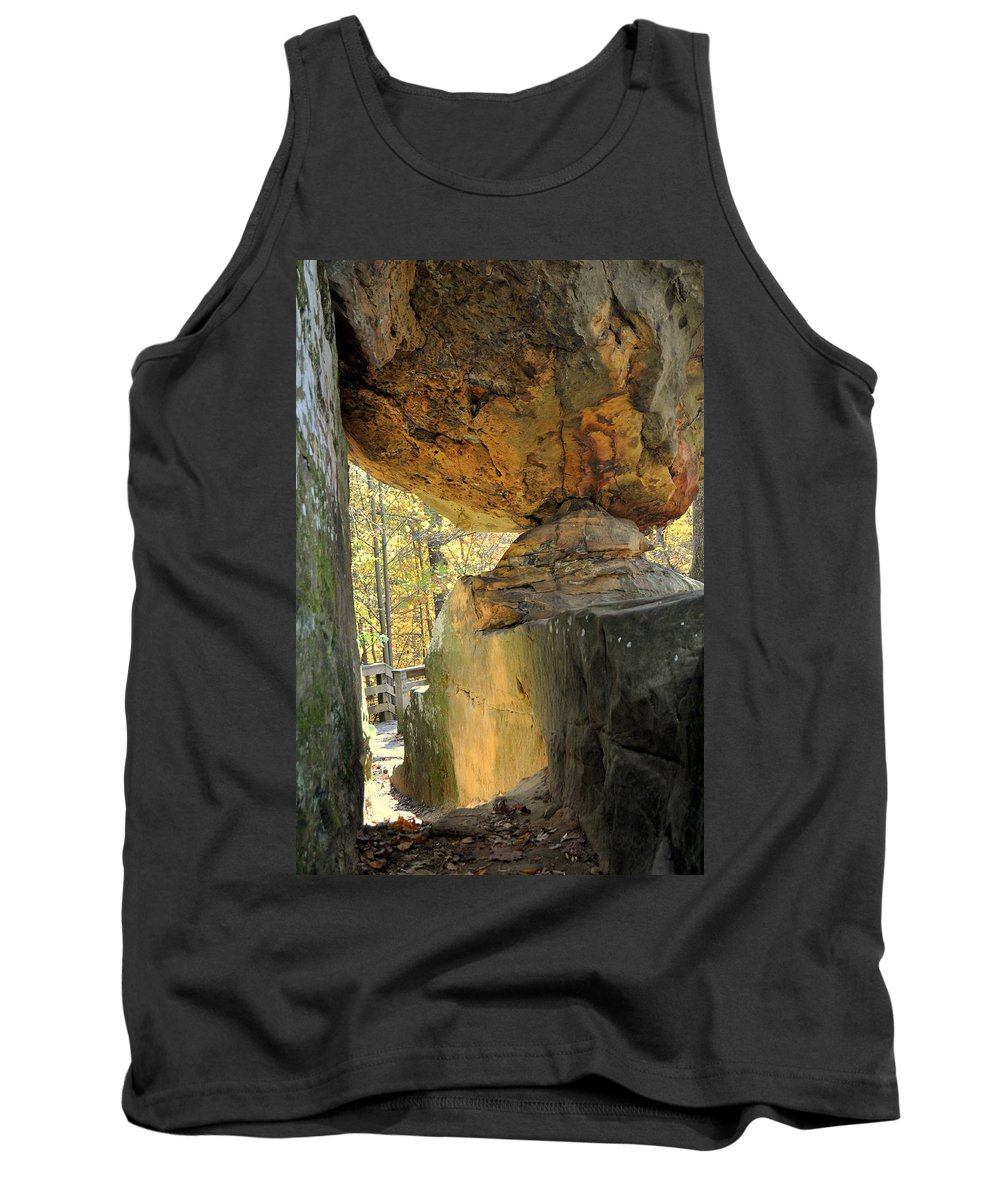 Giant City State Park Tank Top featuring the photograph Balanced Rock by Marty Koch