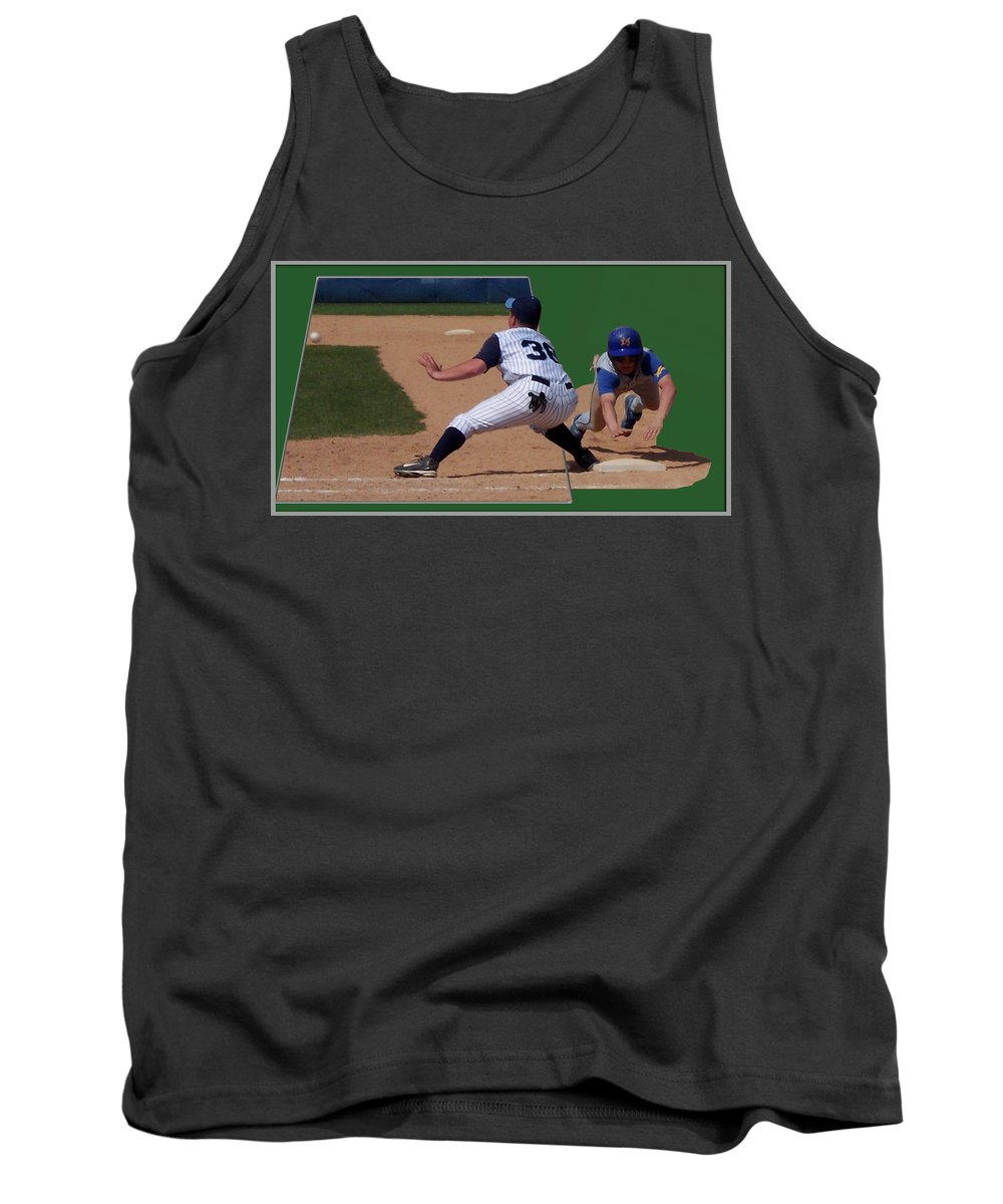 Sports Tank Top featuring the photograph Baseball Pick Off Attempt 02 by Thomas Woolworth