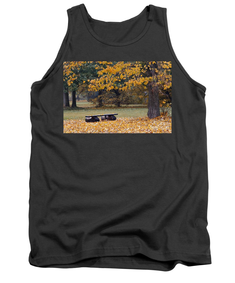 Atmosphere Tank Top featuring the photograph Bench In The Autumn Landscape by Michal Boubin