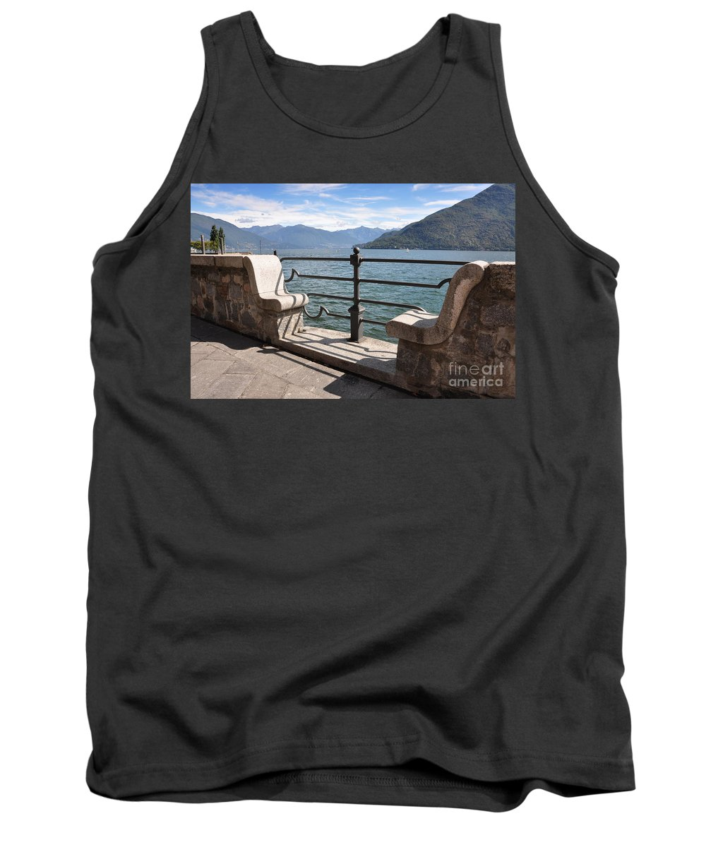 Bench Tank Top featuring the photograph Benches On The Lake Front by Mats Silvan