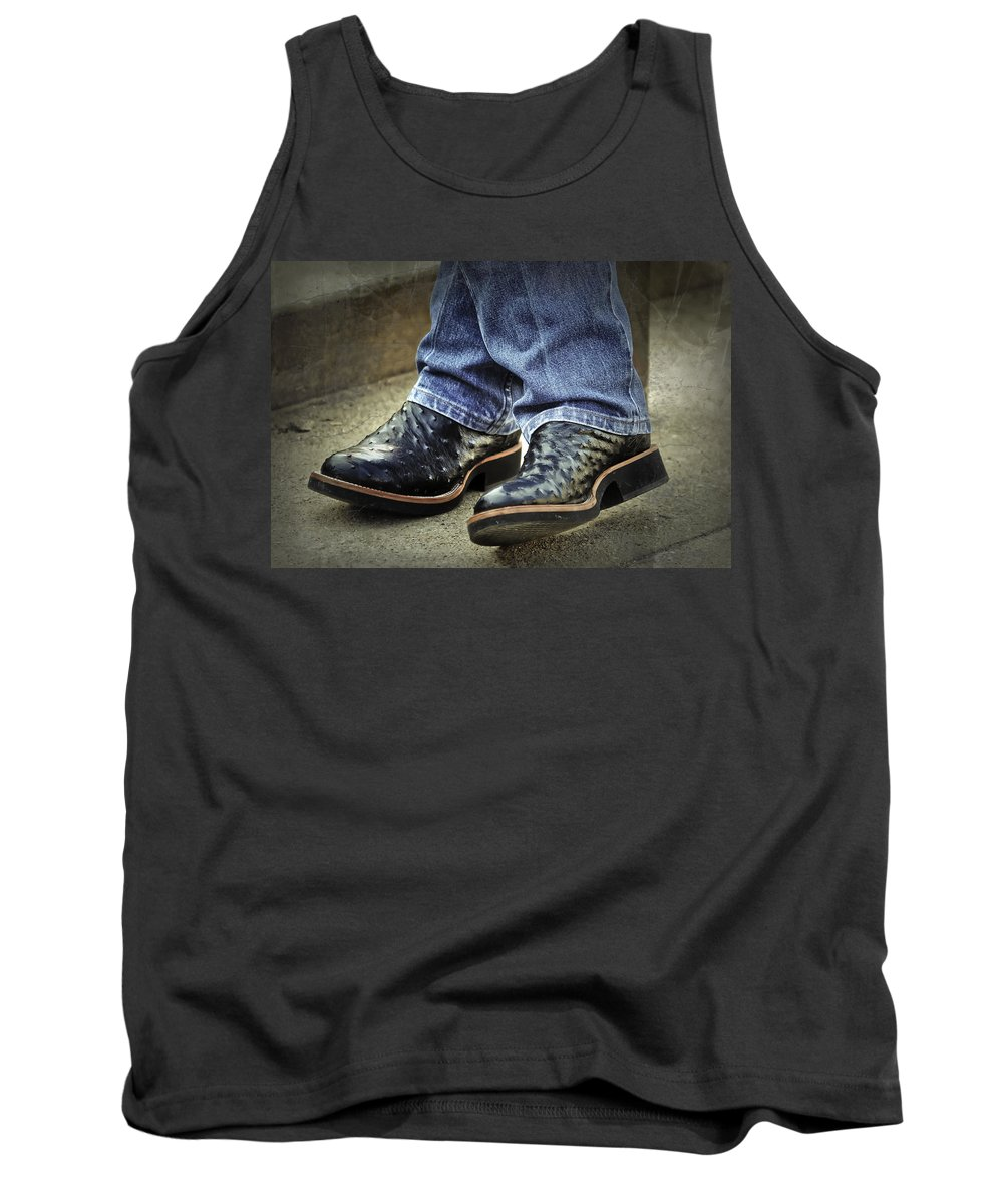 Clothing Tank Top featuring the photograph Bennys Boots by Joan Carroll