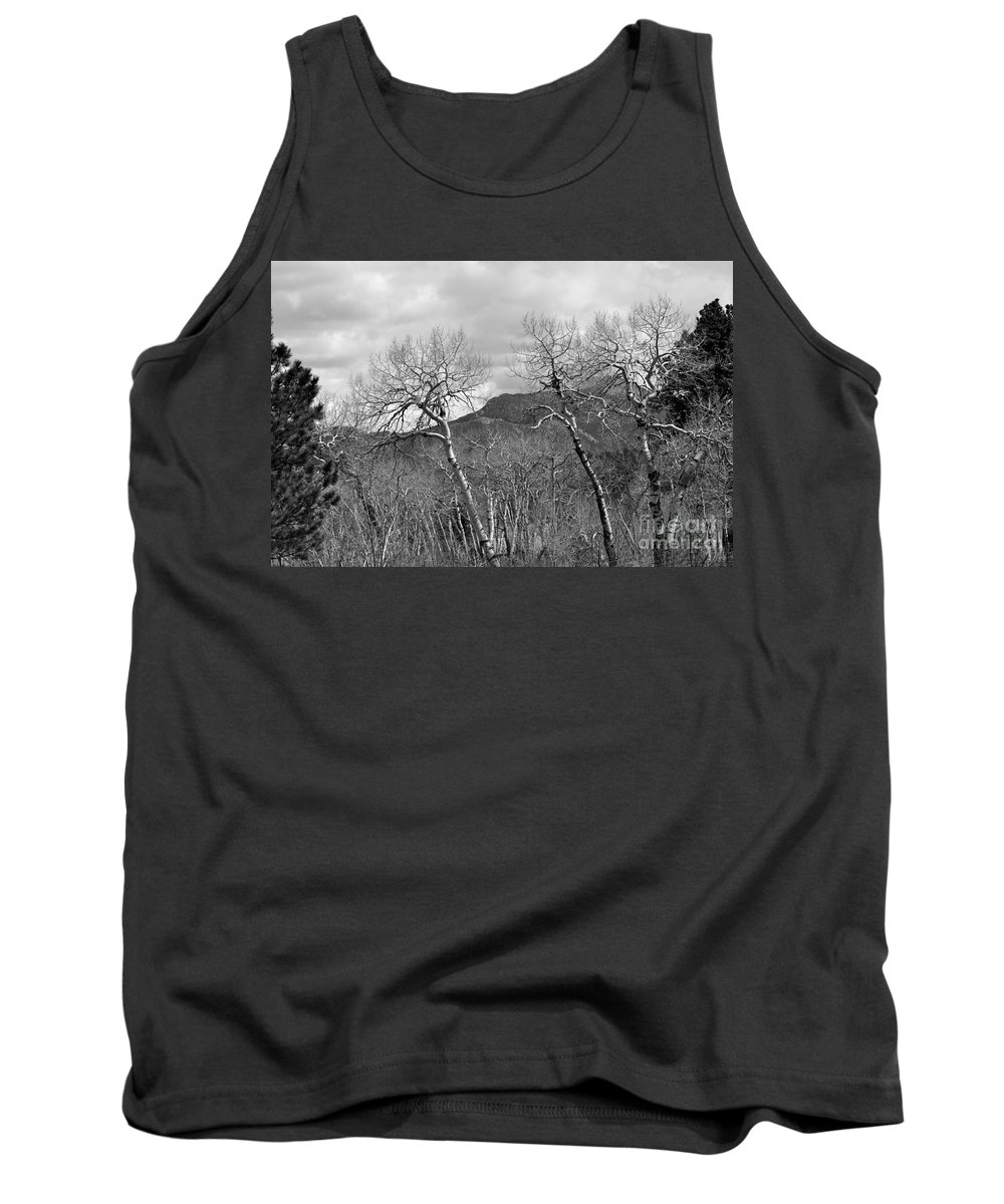 Black And White Tank Top featuring the photograph Black And White Aspen by Dorrene BrownButterfield