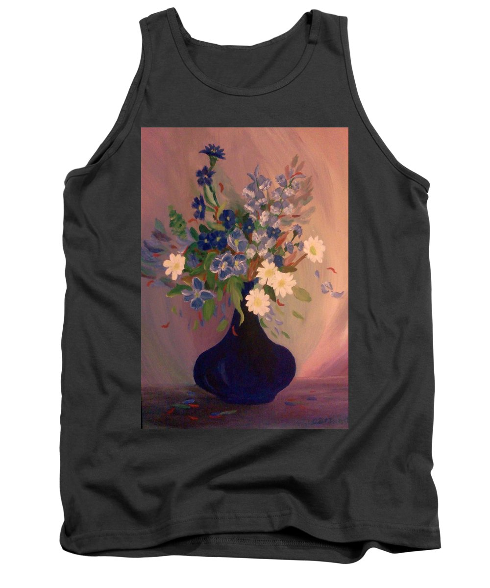 Blue Tank Top featuring the painting Blue Flowers 2 by Christy Saunders Church
