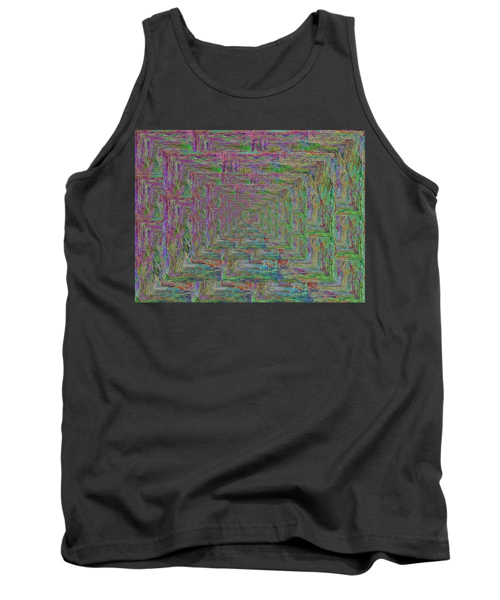 Abstract Tank Top featuring the digital art Blue Green Abstract by Tim Allen