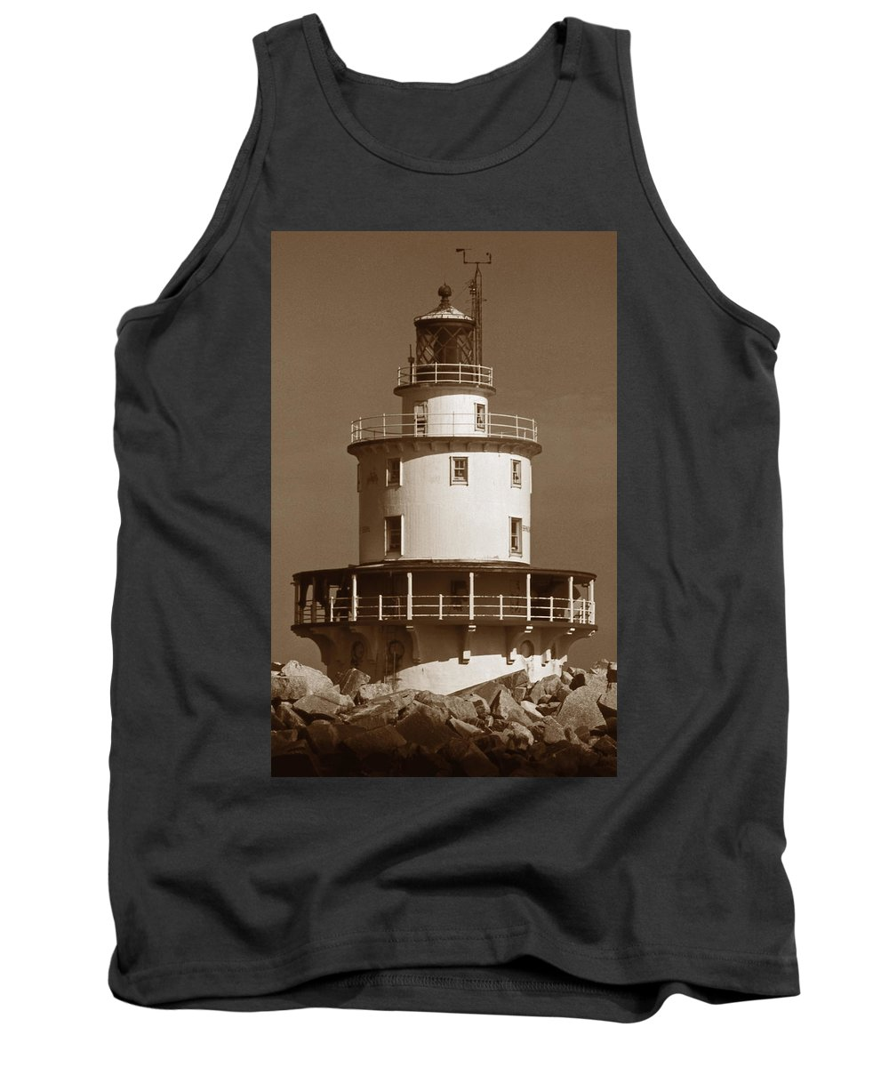 De Tank Top featuring the photograph Brandywine Shoal Lighthouse by Skip Willits
