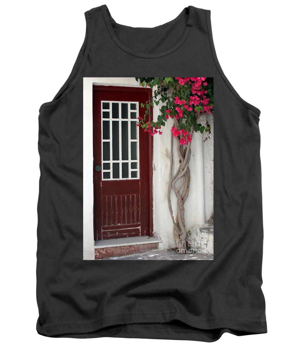 Door Tank Top featuring the photograph Brown Door In Greece by Sabrina L Ryan