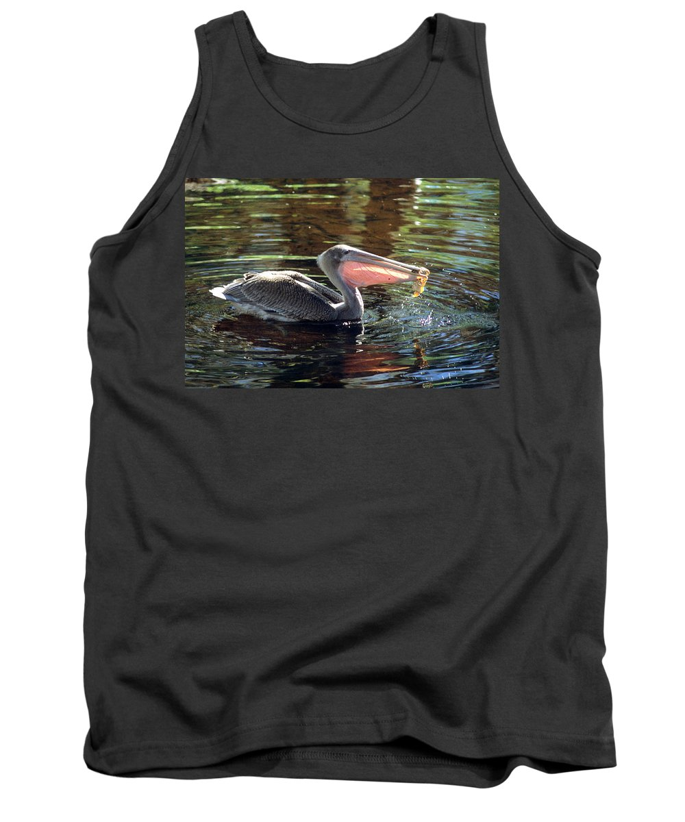 Brown Pelican Tank Top featuring the photograph Brown Pelican Afloat by Larry Allan