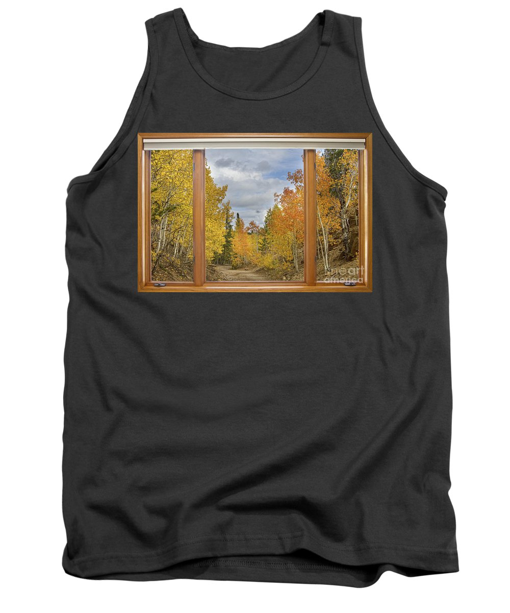 Windows Tank Top featuring the photograph Burning Autumn Aspens Back Country Colorado Window View by James BO Insogna