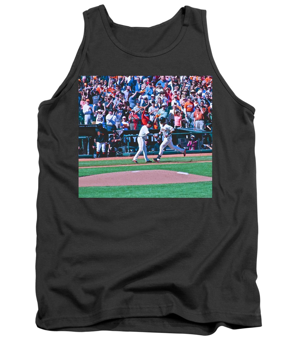 Buster Posey Tank Top featuring the photograph Buster Posey Runs Home by Eric Tressler