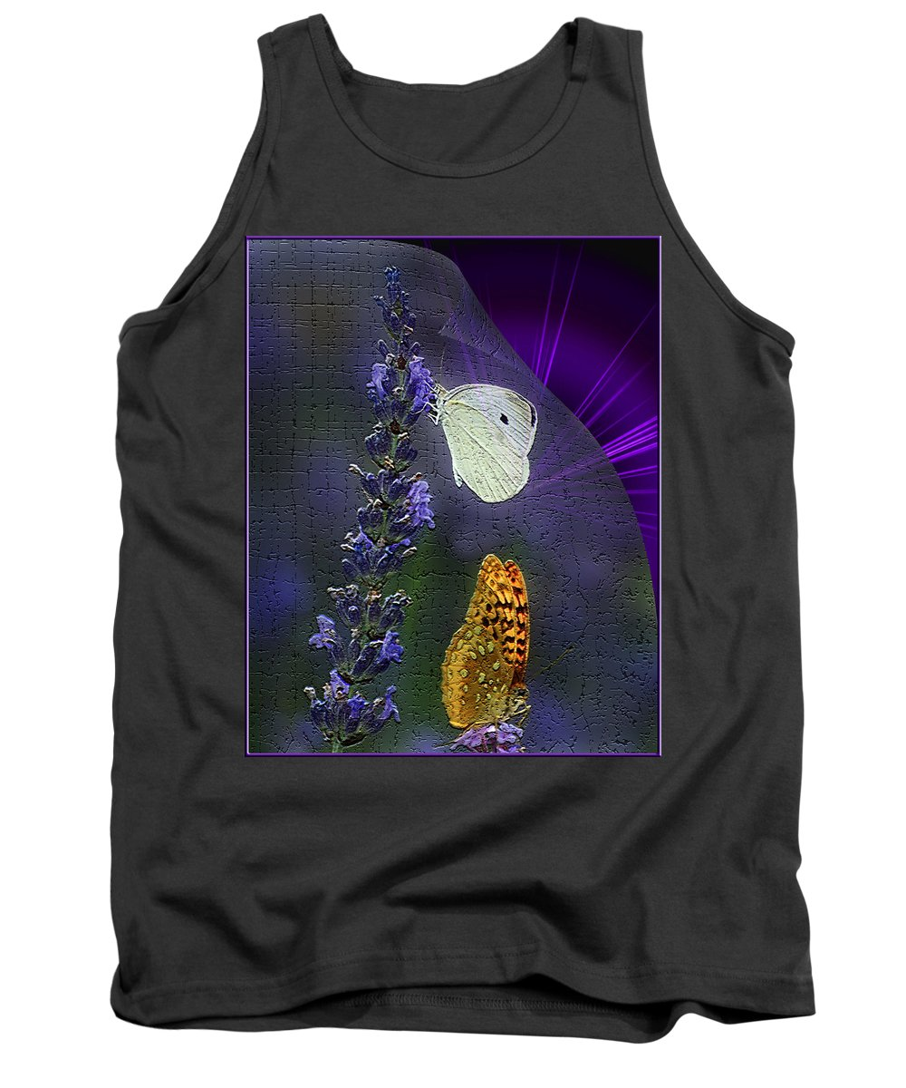 Lavender Tank Top featuring the photograph Butterfly Magic by Maggie Magee Molino