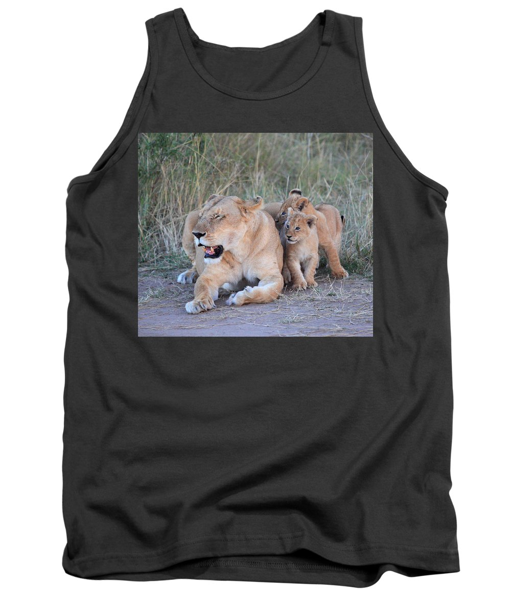 Lion Tank Top featuring the photograph By Mom's Side by Stefon Linton