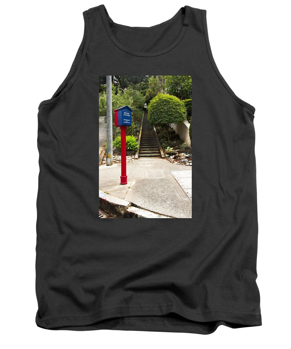 Call Box Tank Top featuring the photograph Call Box With Stairs by Grant Groberg