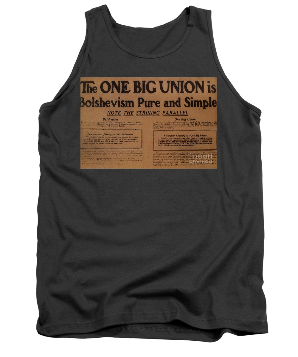 1919 Tank Top featuring the photograph Canada: One Big Union, 1919 by Granger