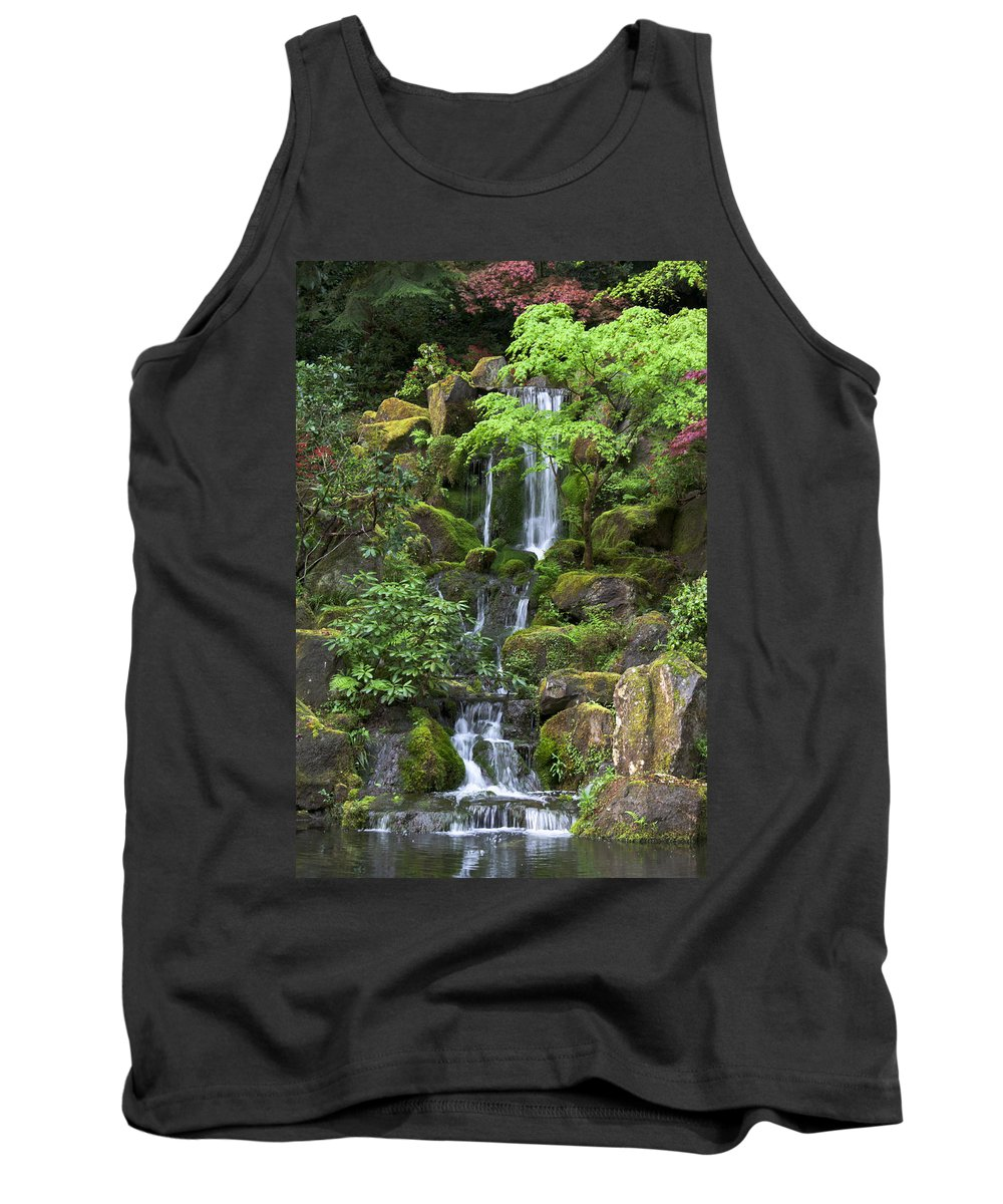 Green Tank Top featuring the photograph Cascading Waters by Jean Hildebrant