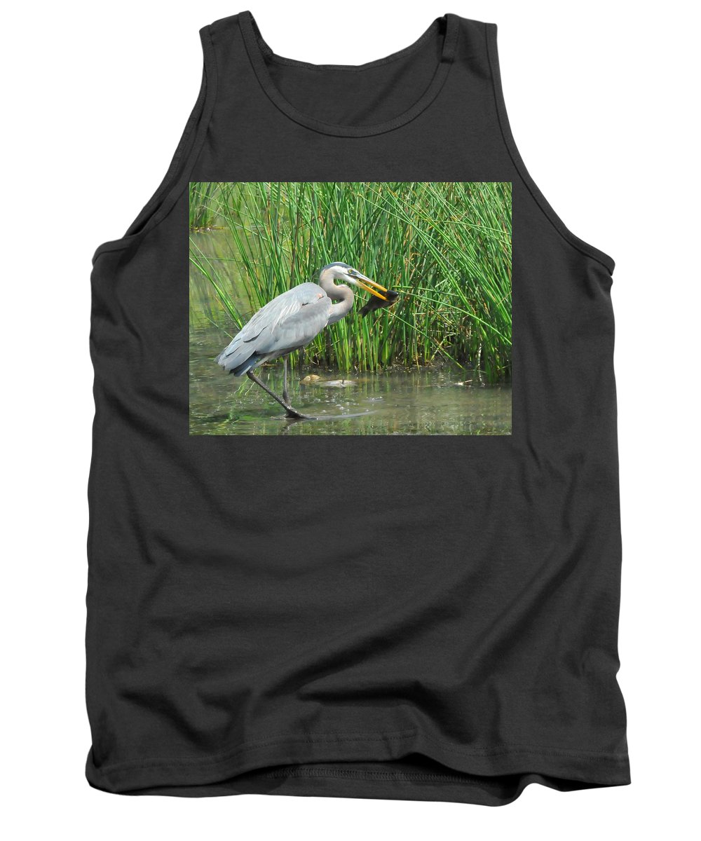 Heron Tank Top featuring the photograph Catch Of The Day by Paul Ward