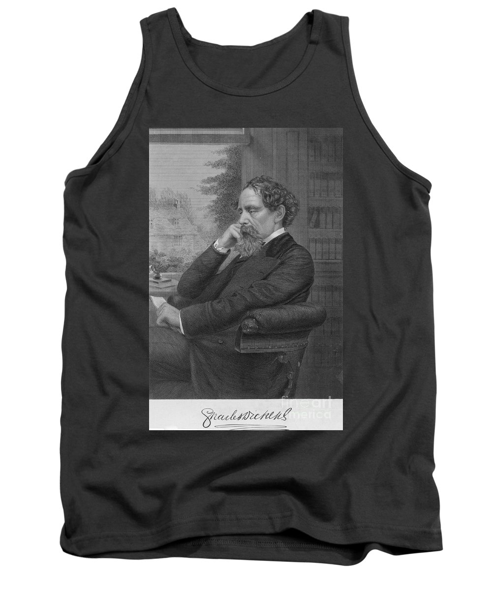 Illustration Tank Top featuring the photograph Charles Dickens, English Author by Photo Researchers