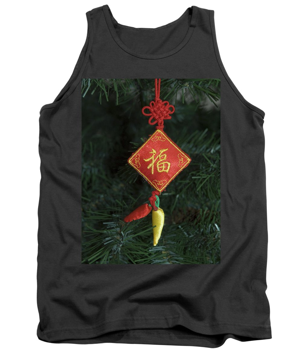 Christmas Tree Ornament Tank Top featuring the photograph Chinese Christmas Tree Ornament by Sally Weigand