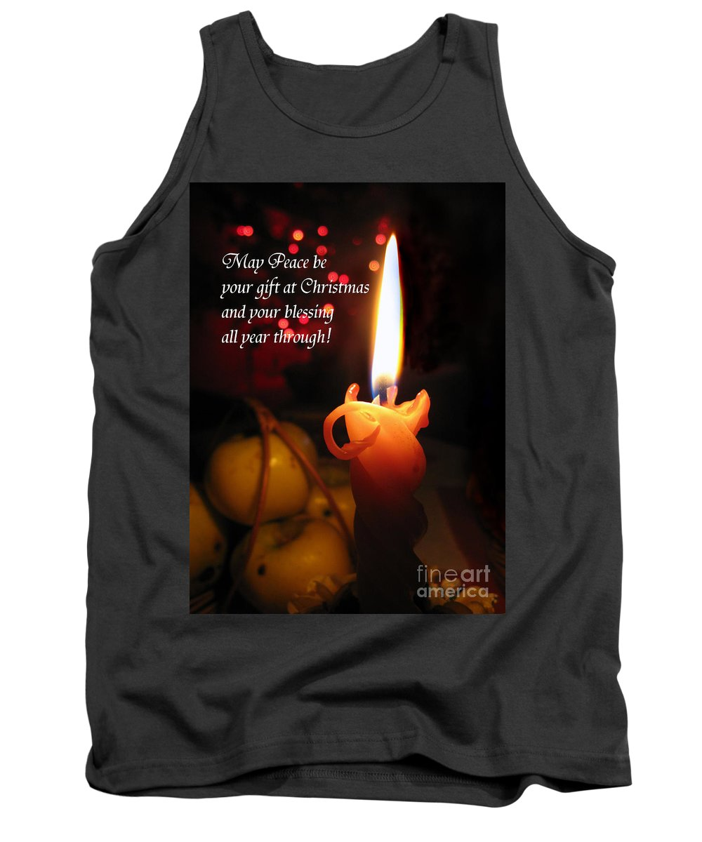 Christmas Candle Tank Top featuring the photograph Christmas Candle Peace Greeting by Ausra Huntington nee Paulauskaite