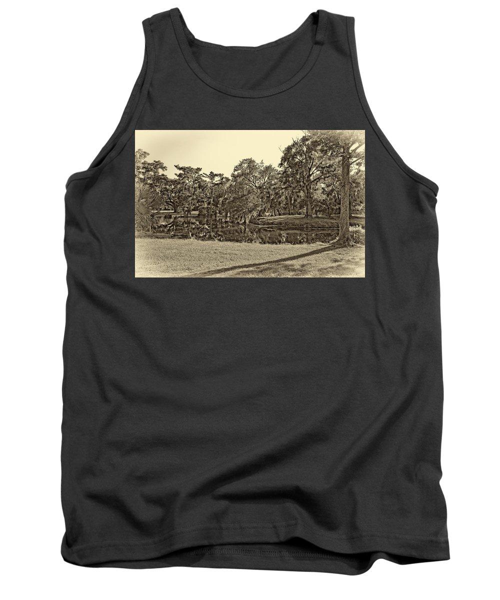 New Orleans Tank Top featuring the photograph City Park Lagoon Sepia by Steve Harrington