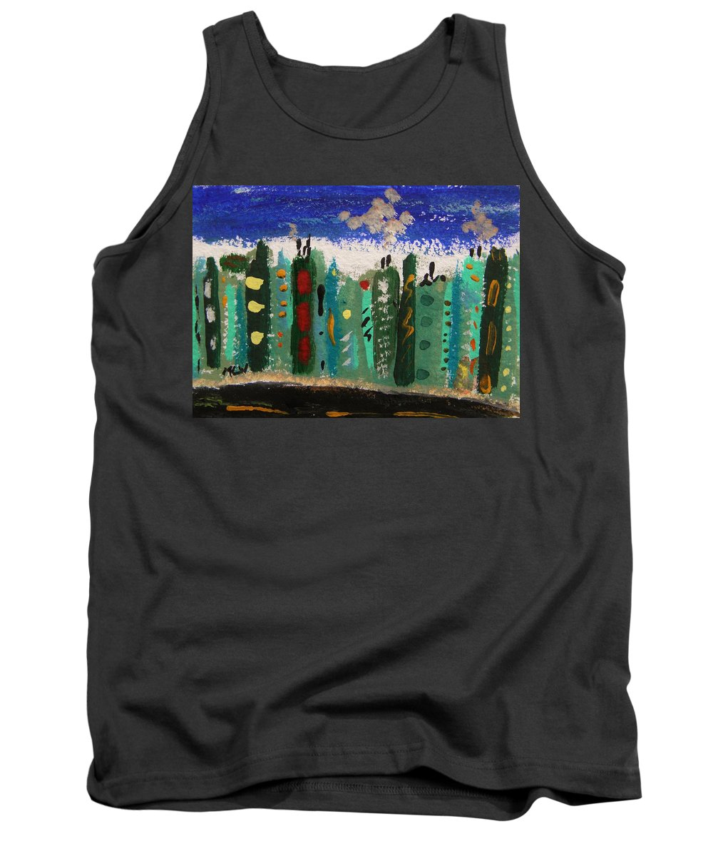 Buildings Tank Top featuring the painting City Sidestreet by Mary Carol Williams