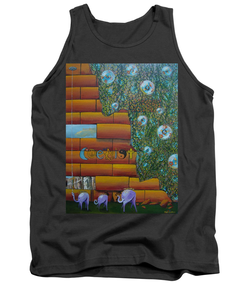 Coexist Tank Top featuring the painting Coexist by Mindy Huntress