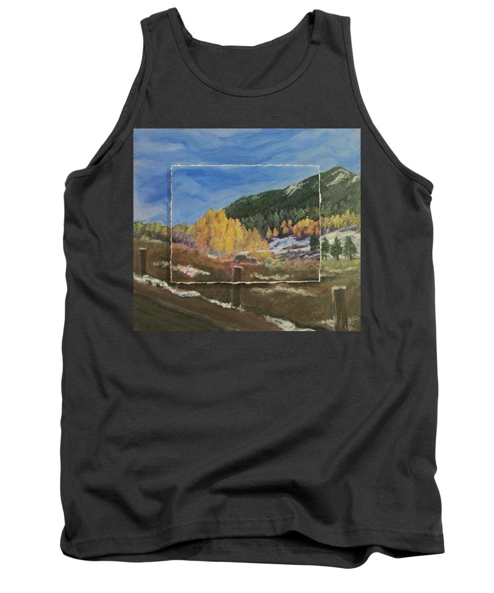 Colorado Tank Top featuring the mixed media Colorado Almost Winter by Anita Burgermeister