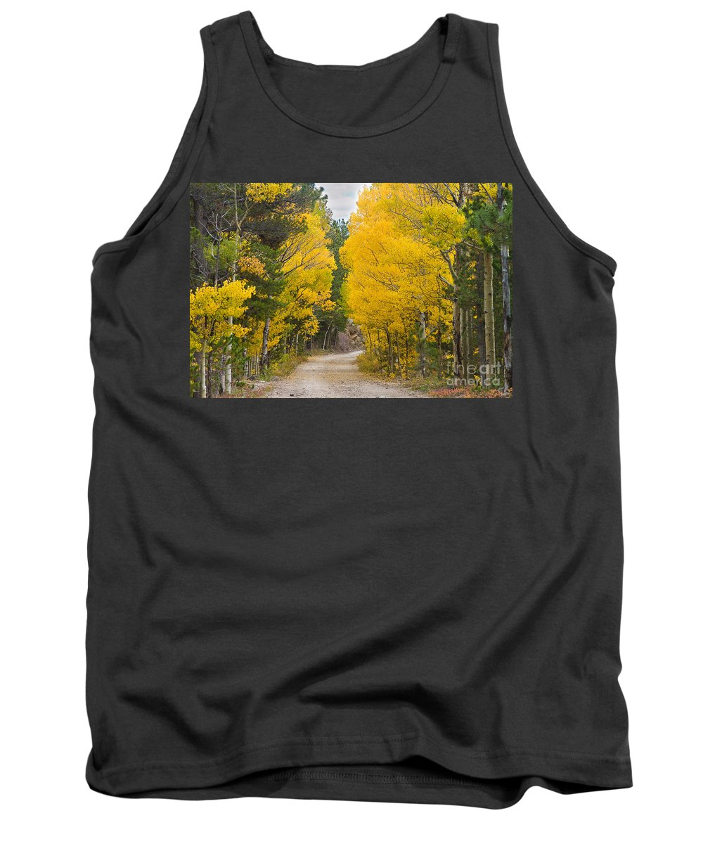 Colorful Tank Top featuring the photograph Colorado Autumn Aspen Road Boulder County by James BO Insogna