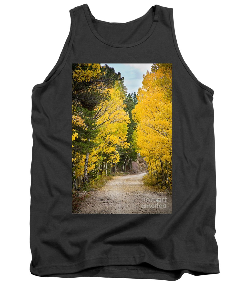 Colorful Tank Top featuring the photograph Colorado Rocky Mountain Aspen Road Portrait by James BO Insogna