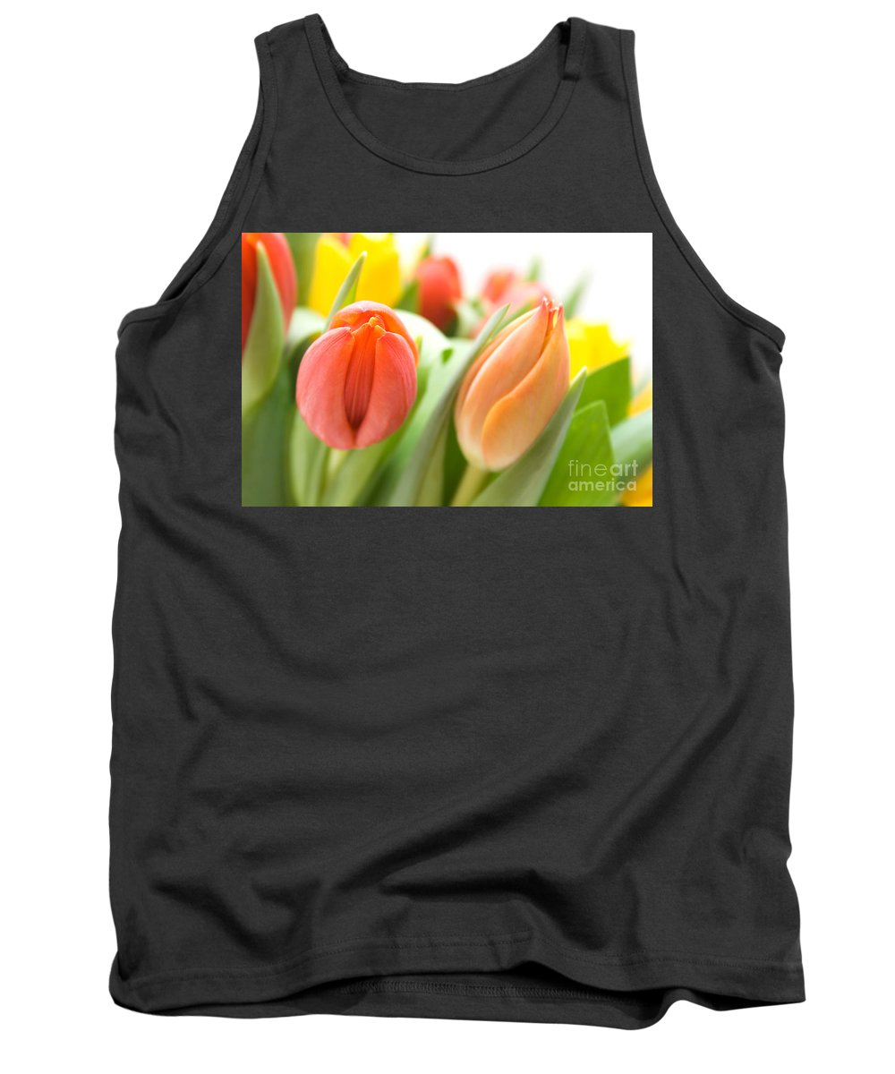 Tulip Tank Top featuring the photograph Colourful Tulips by Kati Finell