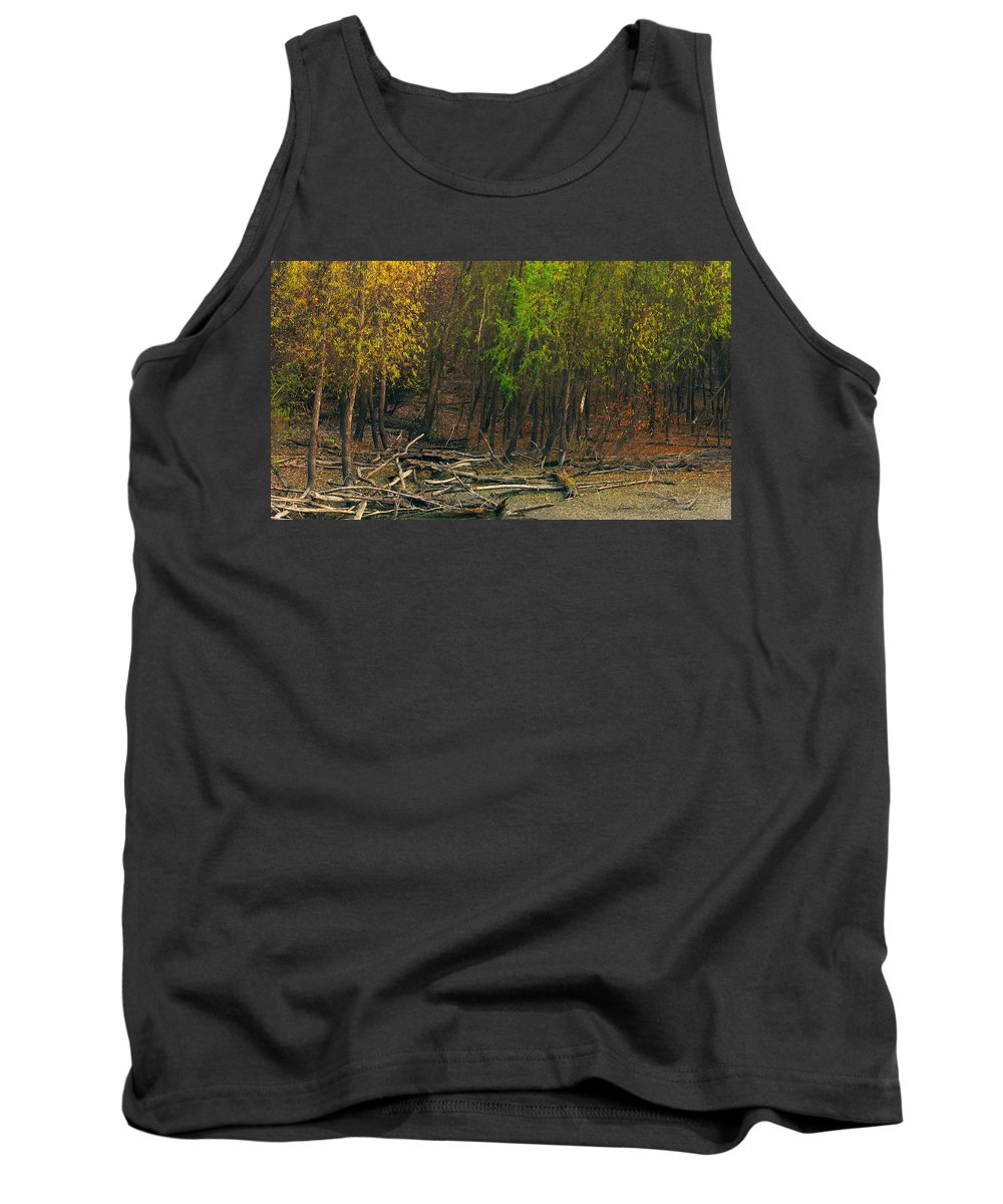 Trees Tank Top featuring the photograph Columbia Bottoms Slough by Greg Matchick