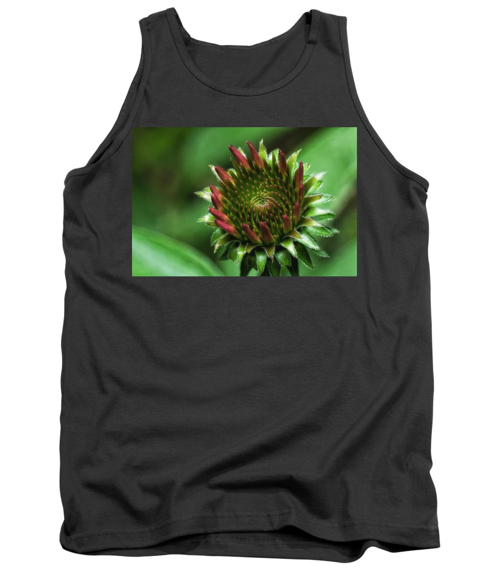 Macro Tank Top featuring the photograph Coneflower Close-up by Lori Coleman