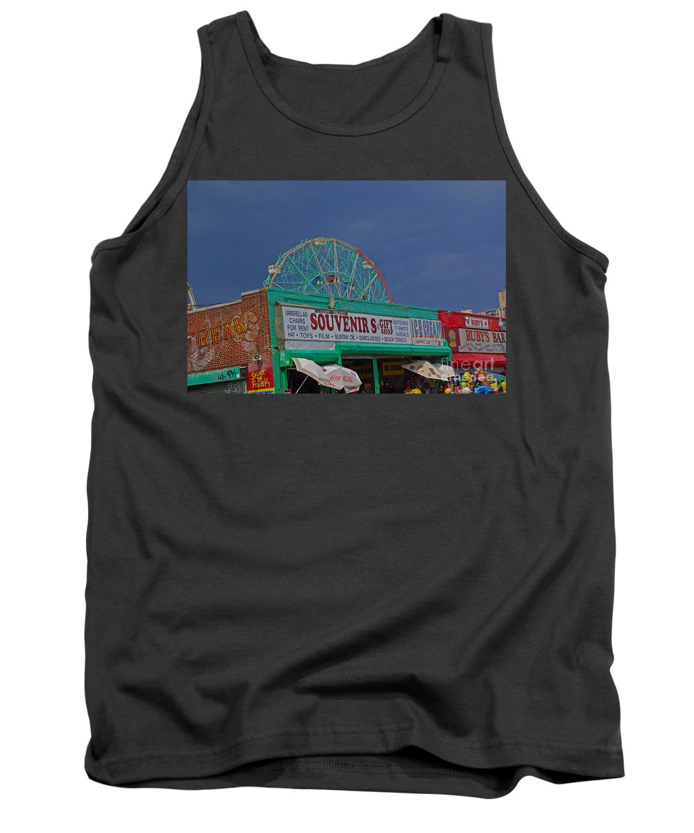New York Tank Top featuring the photograph Coney Island Facades by Rich Walter