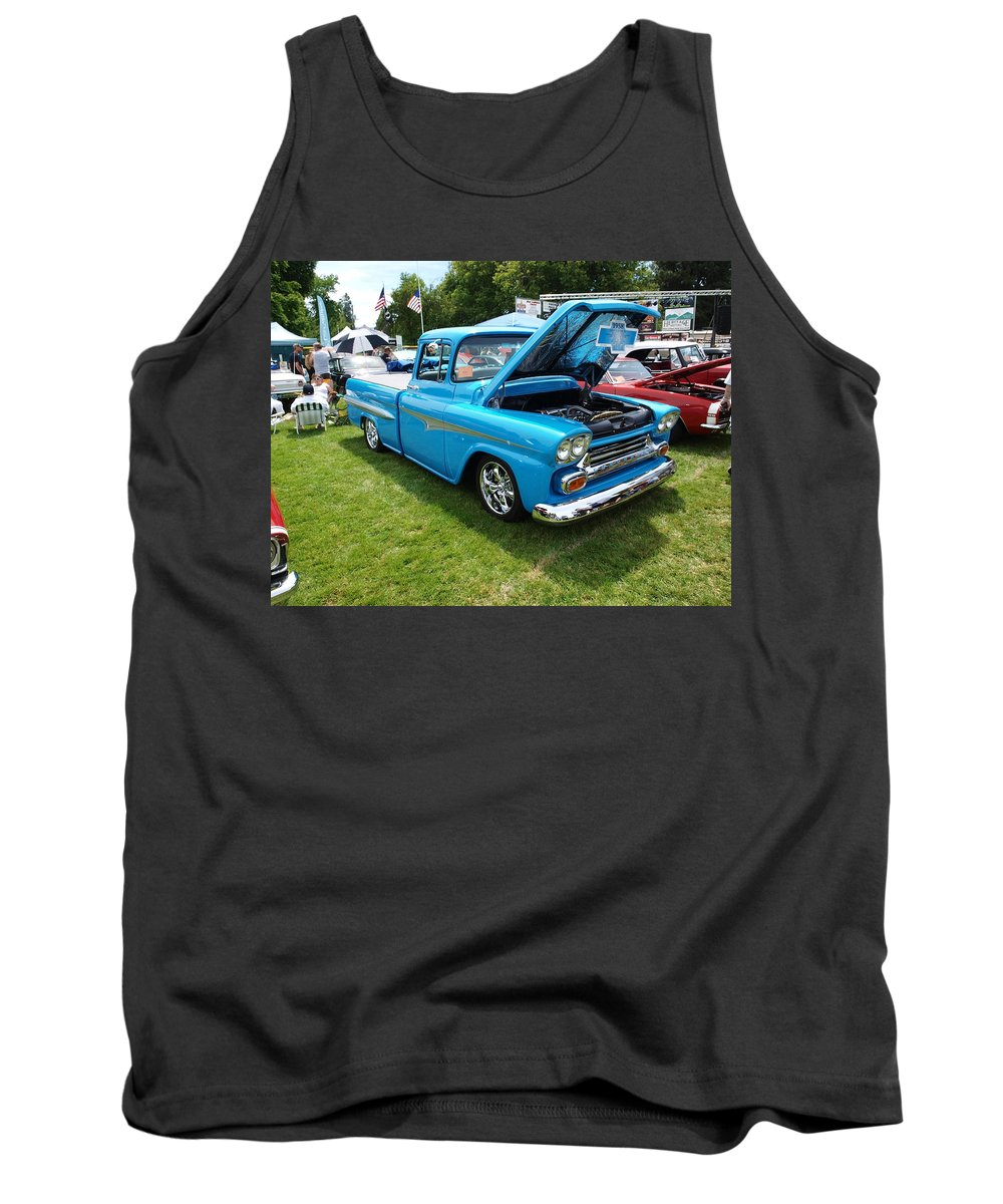 Blue Tank Top featuring the photograph Cool Blues Classic Truck by Teri Schuster